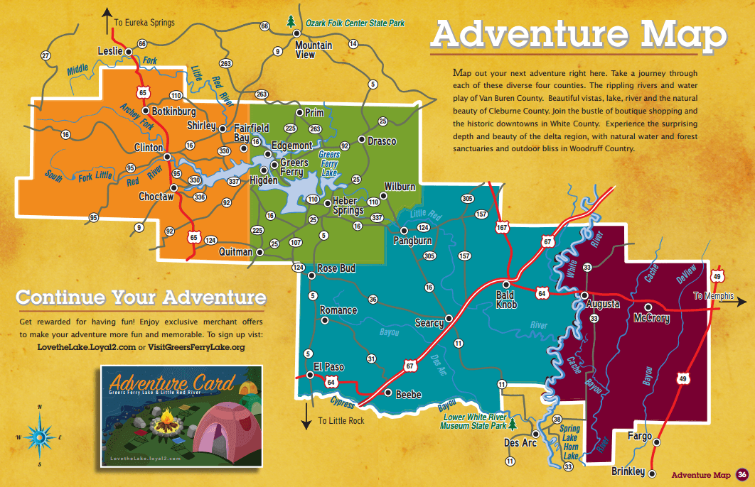 Greers Ferry Lake & Little Red River Adventure Map