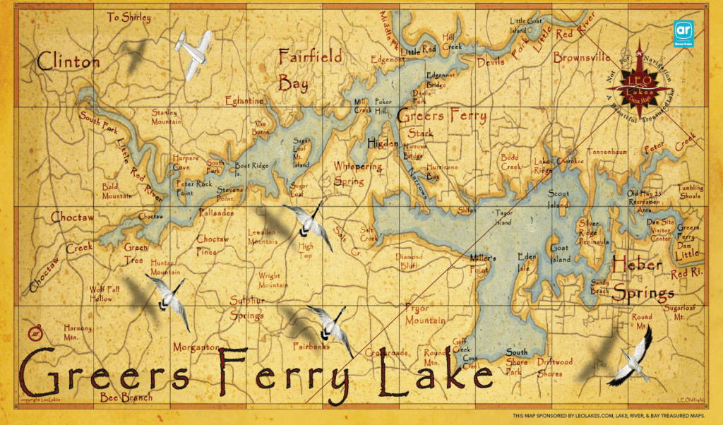 Larry's artistic rendition of Greers Ferry Lake is featured in the Regional Tourism Guide